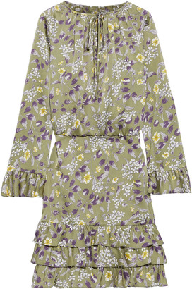 Mikael Aghal Tiered Ruffled Floral-print Hammered-satin Dress