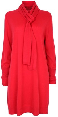 Nologo Chic Long Knit Tunic Dress With Matching Skinny Scarf - Merino/Cashmere - Chilli Red