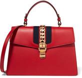 Gucci Sylvie Medium Chain-embellished Leather Shoulder Bag - Red