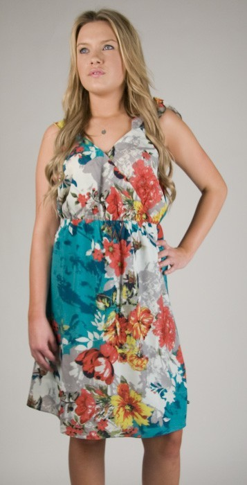 Miss Me Cut Out Floral Dress in Green Print