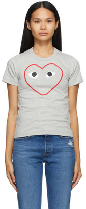 Comme des Garcons Grey Outline Heart T-Shirt
