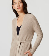 LOFT Petite Belted Ribbed Cardigan