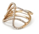 Paige Novick Three Row Curved Ring with Diamond Pave
