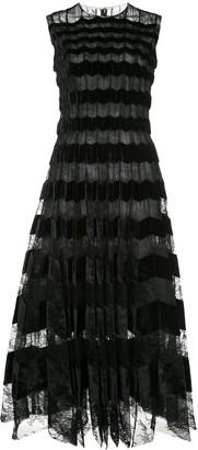Oscar de la Renta Velour Panelled Lace Long Dress