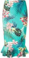 Dorothy Perkins Green Tropical Print Pephem Pencil Skirt
