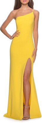 La Femme One-Shoulder Jersey Gown