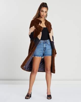 Missguided Longline Colour Block Faux Fur Coat