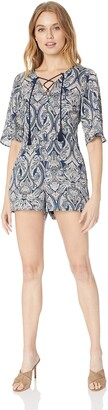 Cupcakes And Cashmere Women's Doretta Paisley Printed Lace Up Romper
