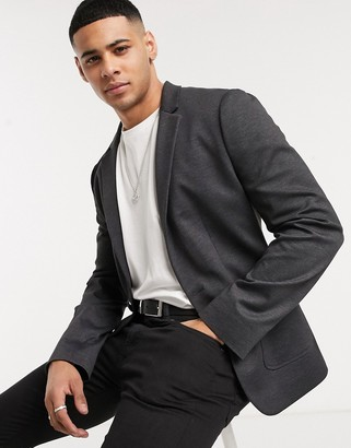 ASOS DESIGN super skinny plain jersey blazer in charcoal herringbone