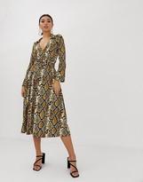 Asos Design DESIGN midi skater shirt dress with belt in snake print