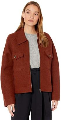 Madewell Jordan Zip-Up Sweater Jacket (Heather Brick) Women's Clothing