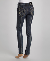 Rebel Spirit Blue Cross-Pocket Skinny Jeans - Women