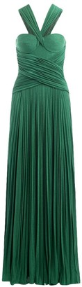Elisabetta Franchi Long Dress Emerald Green With Plisse