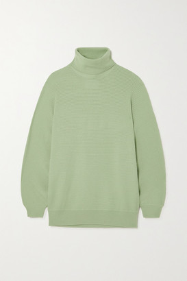 KING & TUCKFIELD Ribbed Merino Wool Turtleneck Sweater - Mint