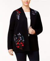 Charter Club Plus Size Embroidered Floral Cardigan, Created for Macy's