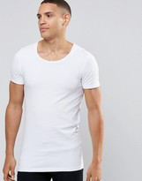 Asos Longline Muscle T-shirt With Scoop Neck In White