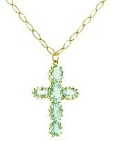John Apel Other Designers Green Tourmaline Cross on Long Marquis Chain - 18 Karat Yellow Gold