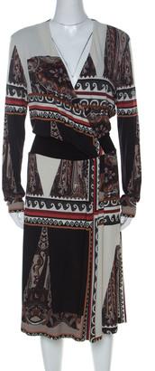 Etro Multicolor Paisley Printed Jersey Faux Wrap Dress L