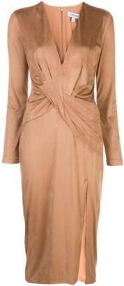 Cushnie Deep V-Neck Long Sleeved Dress