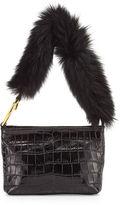 Elizabeth and James Finley Crocodile-Embossed Fur Shoulder Bag