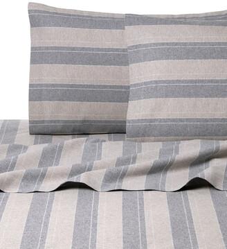 Belle Epoque Stripe Flannel Grey & Tan Sheet Set