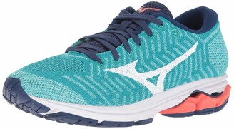Mizuno Women's Wave Rider 22 Knit Running Shoe pink glo-sodalite blue 6 B US