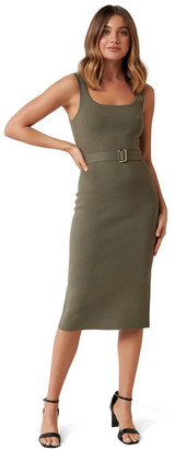 Forever New Gabriella Square Neck Midi Knit Dress