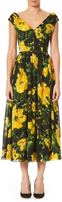 Carolina Herrera Floral A-Line Midi Dress