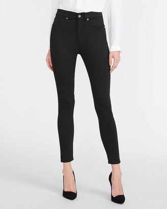 Express High Waisted Luxe Polished Black Skinny Jeans