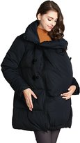Sweet Mommy Toggle Button Maternity and Mama Down Coat with baby wearing pouch BKL