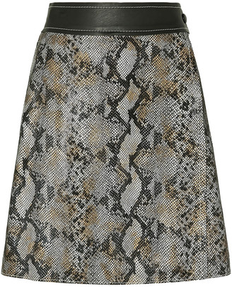 Stand Studio Elene Snake-effect Leather Mini Wrap Skirt