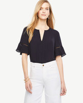 Ann Taylor Tall Pintucked Flutter Sleeve Top
