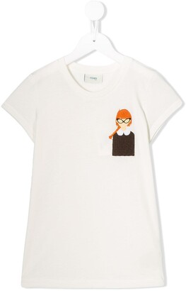 Fendi FF girl embroidered T-shirt