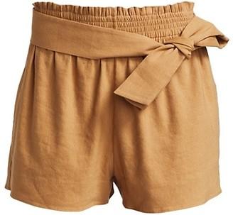 Alice + Olivia Linen-Blend Tie-Waist Paperbag Shorts