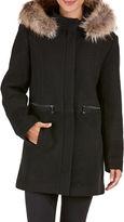 Bianca Nygard Mixed Media Fur Trim Wool Coat