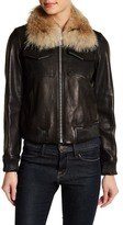 Andrew Marc Detachable Genuine Coyote Fur Trim Genuine Leather Jacket