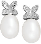 Macy's Cultured Freshwater Pearl (9 x 7mm) and Diamond Accent Butterfly Stud Earrings in Sterling Silver