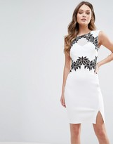 Lipsy Pencil Dress With Floral Detail