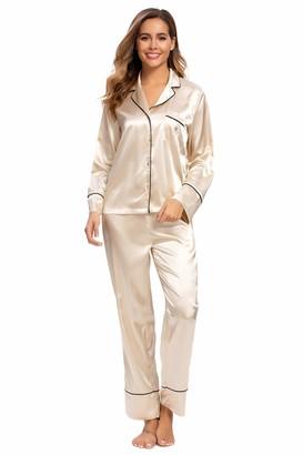 Alcea Rosea Women's Silky Satin Pajamas Set Long Sleeves and Button Down Pjs Sleepwear Loungewear S-XXL (Navy Blue XXL)