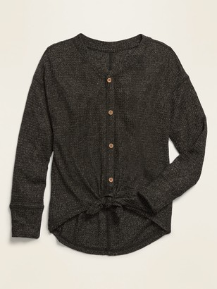 Old Navy Drop-Shoulder Thermal Tie-Front Cardigan for Girls