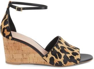 Kate Spade Lonnie Leopard Calf-Hair Wedge Sandals