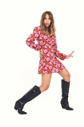 Nasty Gal Womens Groove is in the Heart Floral Mini Dress - Burgundy