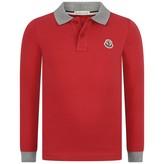 Moncler MonclerBoys Red Pique Polo Shirt