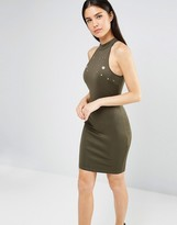 AX Paris High Neck Bodycon Dress With Eyelets
