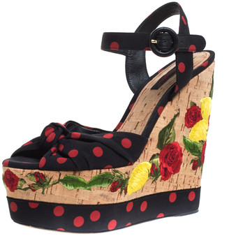 Dolce & Gabbana Black/Red Polka Dot Knot Fabric Cork Wedge Embroidery Detail Sandals Size 40