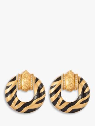 Susan Caplan Vintage Elizabeth Taylor Gold Plated Enamel and Swarovski Crystal Clip-On Round Earrings, Gold/Black