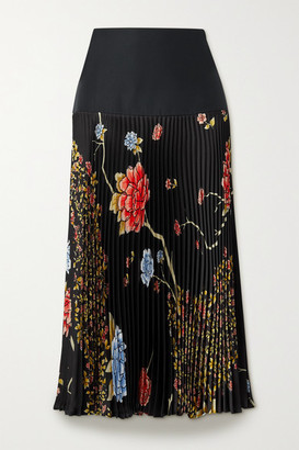 Victoria, Victoria Beckham - Pleated Floral-print Satin-twill Midi Skirt - Black