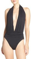 Vince Camuto Halter Plunge One-Piece Swimsuit