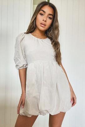 boohoo Petite Linen Look Puffball Mini Dress