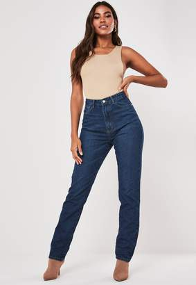Missguided Deep Blue Slim Highwaisted Straight Leg Jeans